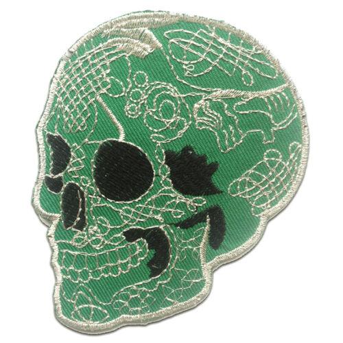 Totenkopf Skelett grün Aufnäher // Bügelbild 8 x 9.5 cm
