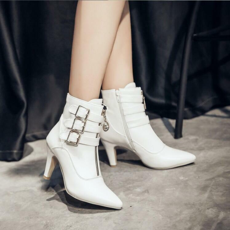 Womens Ankle Boots Stilettos Heels Side Zip Shoes Work Shoes Buckles Punk U591