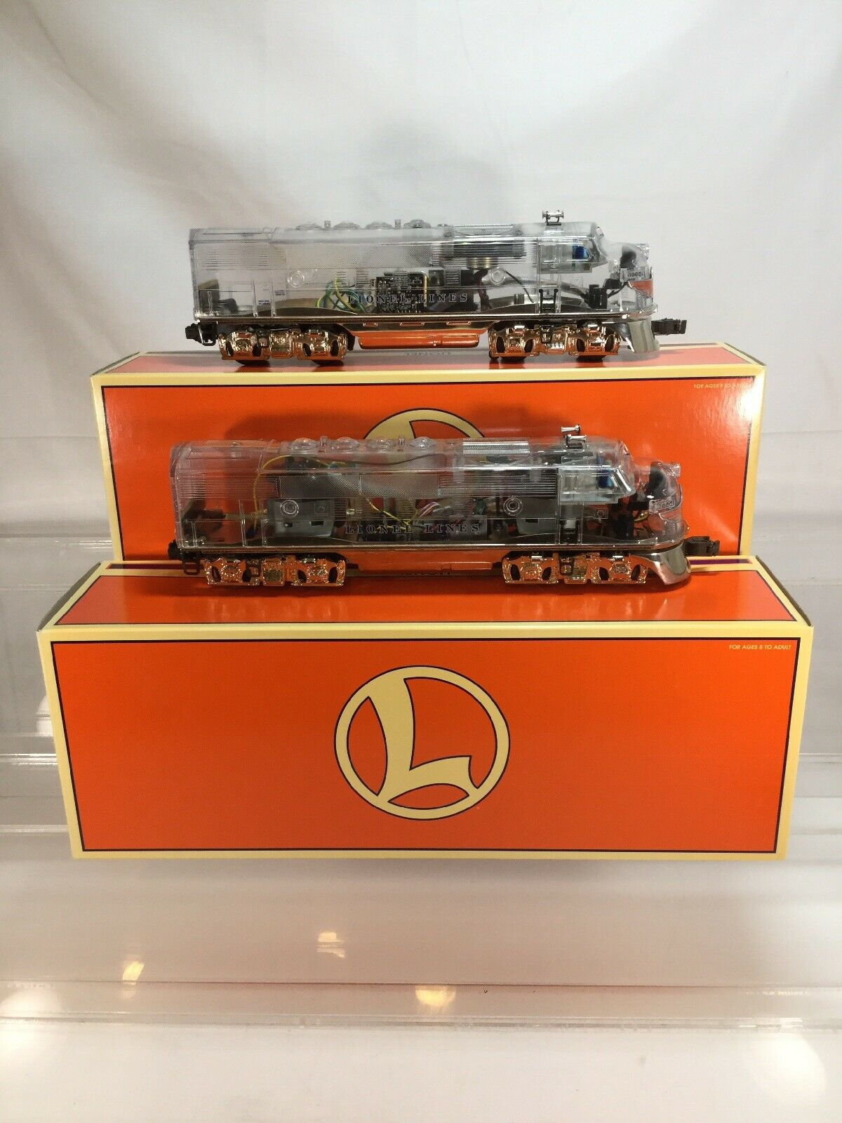 Lionel  The Platinum Ghost  F3 AA Clear Cab Diesel Locomotive Set 6-38150