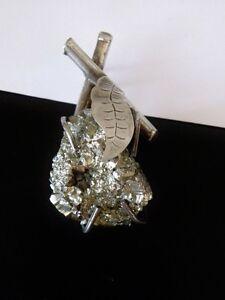 LARGE-Vintage-Sterling-Silver-925-Fools-Gold-Meteorite-Pyrite-Artisan-Pendant