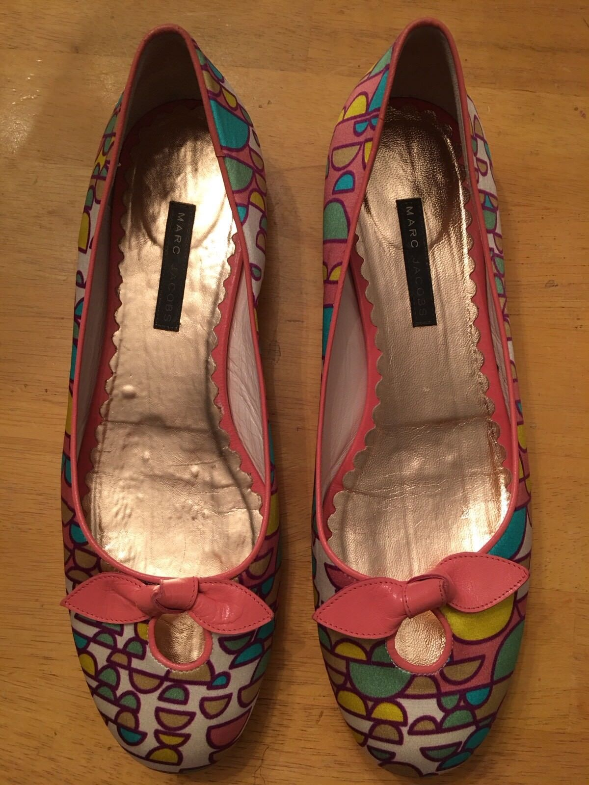 MARC JACOBS Coloreeful Modern Geometric Btuttiet Flats Bows Rare 9M  Beautiful