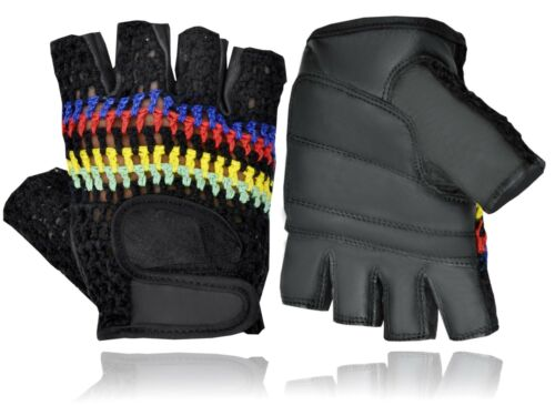 SPORTS CYCLING BICYCLE GLOVES VELCRO FASTENING HALF FINGER GENUINE LEATHER