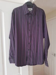Men-039-s-Smart-Yves-Saint-Laurent-Brown-Multi-Striped-Shirt-Collar-Size-16-5-034-VGC