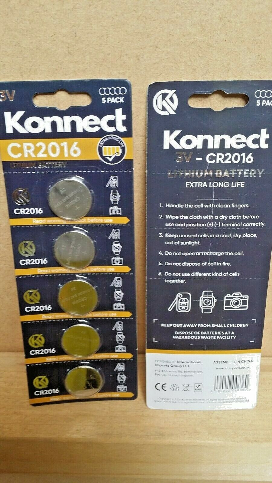 Pack of 5 Konnect CR2016 3v Lithium Cell Batteries Extra Long Life DL2016