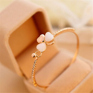 Women-Clover-Flower-Crystal-Gold-Plated-Cuff-Bracelet-Bangle-Fashion-Jewelry