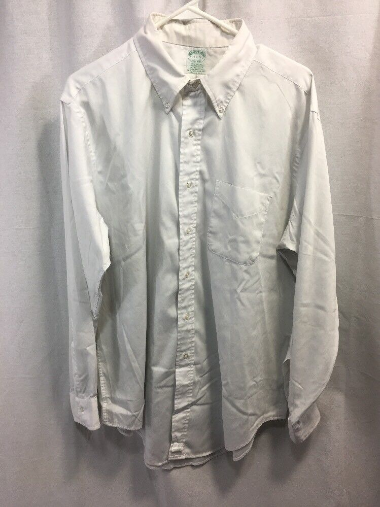 VTG Brooks Brothers Dress Shirt Cotton Men 17.5 Button Down L/S Solid Weiß USA