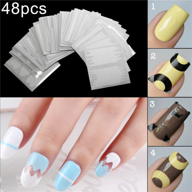 1500 Designs Nail Art Stencil French Tip Guides Vinyl Fringe Stickers 48  Sheets