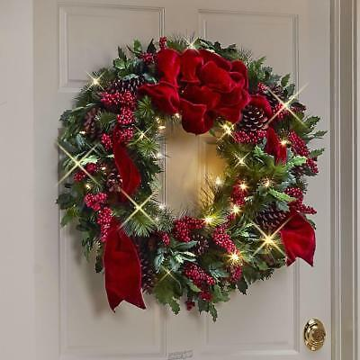 Prelit Christmas Wreath.The Cordless Prelit Holly Berries Holiday Trim Christmas Wreath Led Lights Ebay