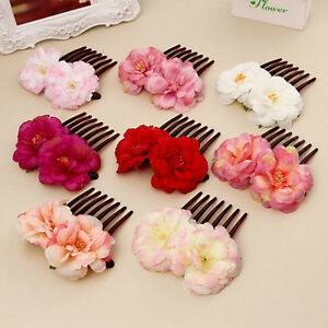 Fashion bridal flower hair clip hairpin comb wedding party hair image is loading fashion bridal flower hair clip hairpin comb wedding mightylinksfo