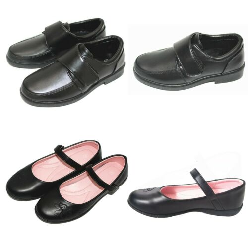Girls Boys Black School Shoes Kids Teen Flat Comfortable Casual Leather Shoes UK