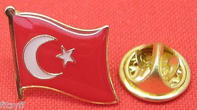 Turkey Turkish Turks Country Flag Lapel Hat Cap Tie Pin Badge Brooch