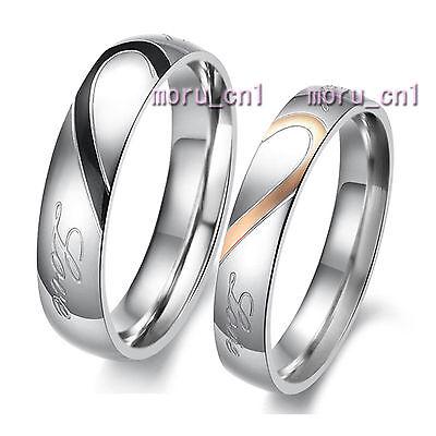 Classic Heart Shape Matching Wedding Bands Titanium Couple Ring Set Valentine