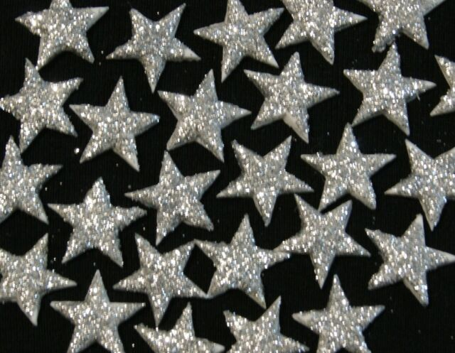 Edible Cake Toppers - STARS x 50  SILVER Edible Dust - Wedding Cakes - 1cm ea