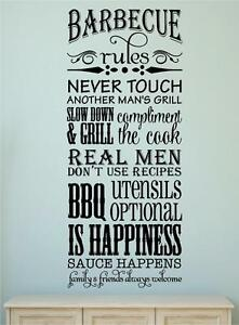 Image Is Loading Barbecue Rules BBQ Summer Garden Decor Vinyl Decal  Part 73