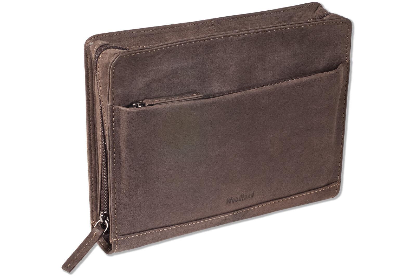 Woodland® Woodland® Woodland® flache Handgelenktasche aus naturbelassenem Leder in Dunkelbraun | Modern  6b05c5