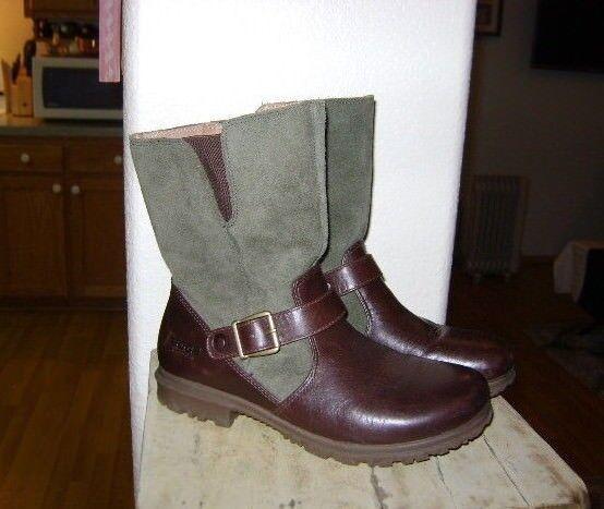 BOGS Bobby Mid Waterproof Pull On Leder Stiefel Größe 7 - Braun & Green