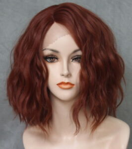 Short Lace Front Wig Wavy Bob Copper Red Heat Ok Hair Piece Full
