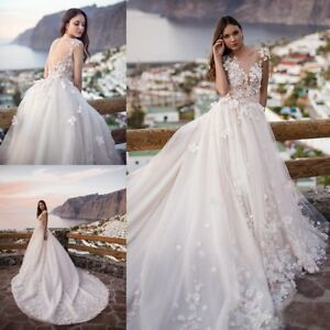 Beautiful-A-Line-Wedding-Dresses-White-Ivory-Lace-Appliques-Bridal-Gowns-Train
