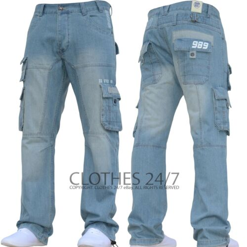 New Mens Enzo Designer Dark Cargo Combat Denim Jeans Pants All Waist /& Leg Sizes