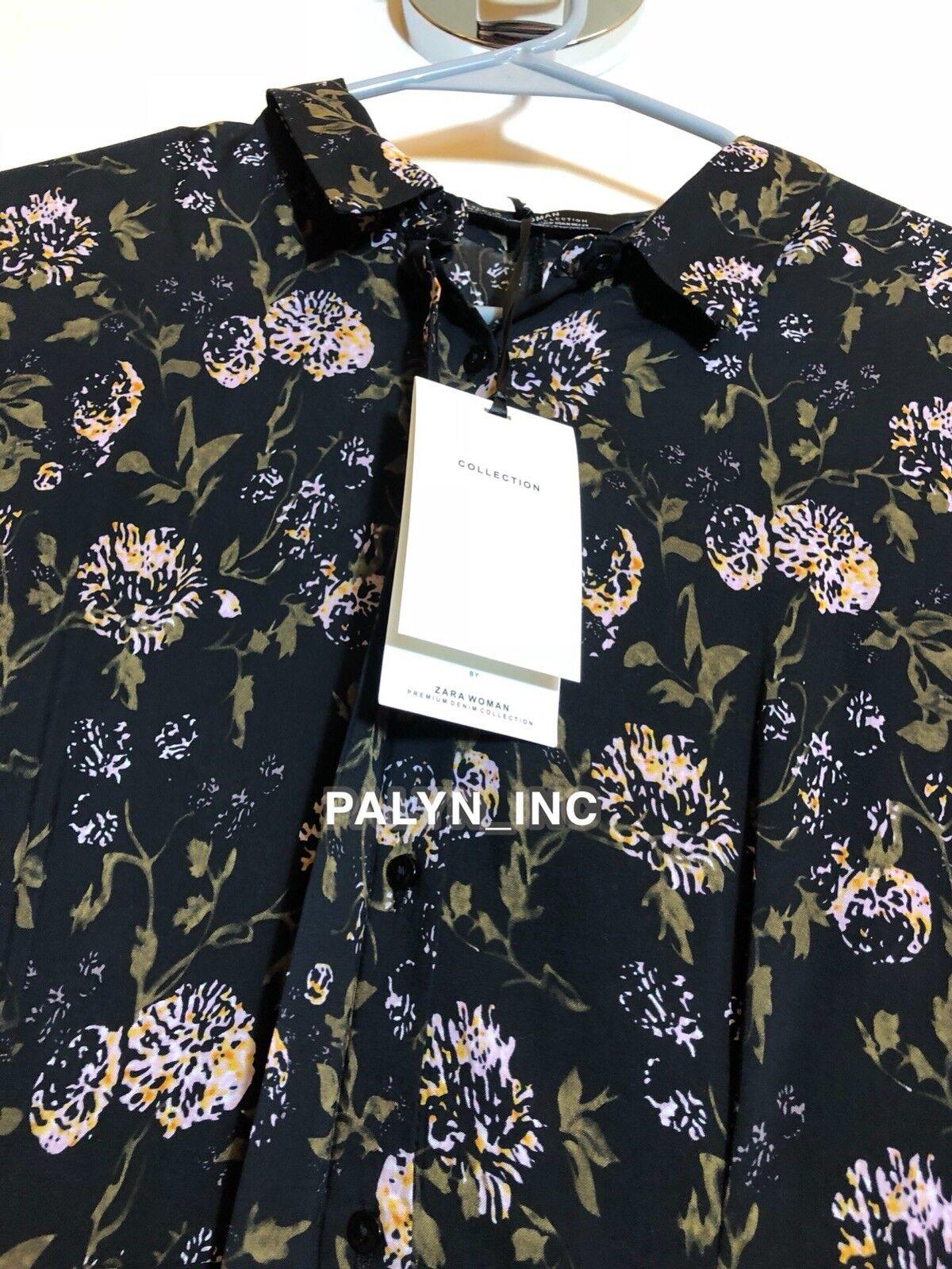 NWT ZARA AW18 FLOWING LONG FLORAL PRINT SHIRT DRESS BLACK 4786//275 /_XS S M L XL