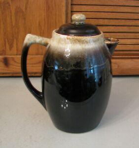 "Vintage HULL USA Brown Drip Glaze Rim 9"" Coffee Beverage w Lid 1970's Pottery"
