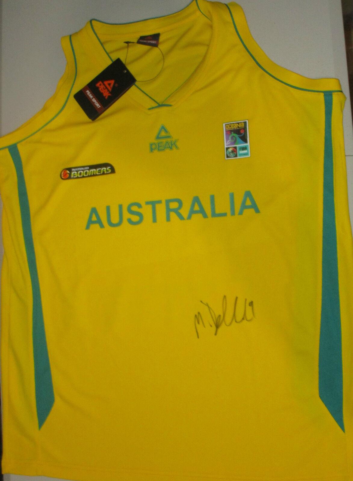 Matthew Dellavedova signed Australian Boomers Basketball jersey gold+ proof