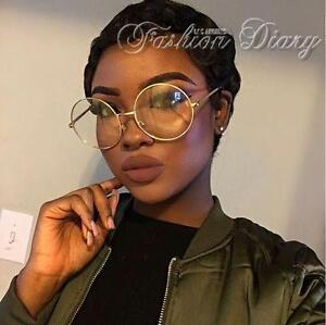 cb84cc3307 NEW OVERSIZED CLEAR LENS GLASSES METAL GOLD FRAME ROUND LARGE CIRCLE ...