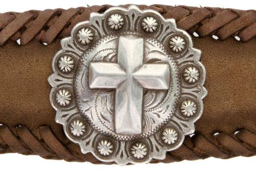 Men/'s silver cross Western Pétoncle Concho Cuir Cowboy Ceinture noir ou marron