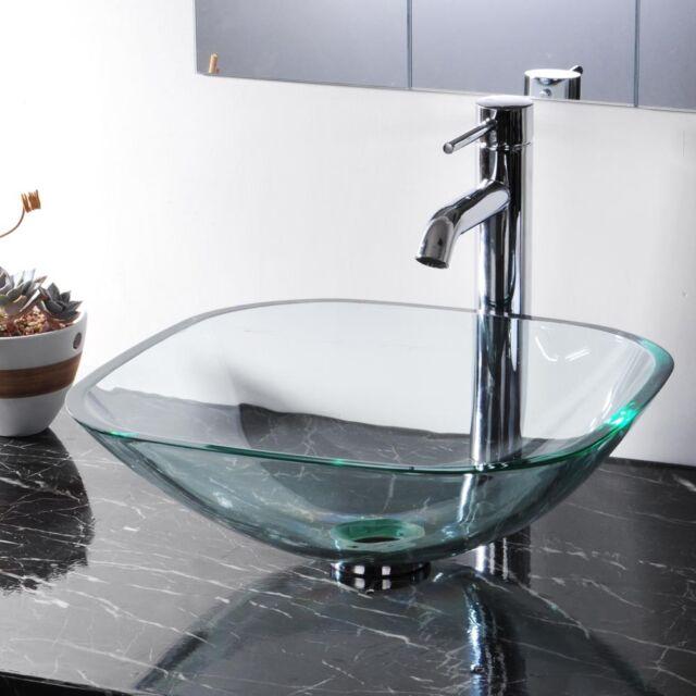 Merveilleux Tempered Glass Bathroom Vessel Sink Washroom Natural Clear Vanity Hotel  Basin