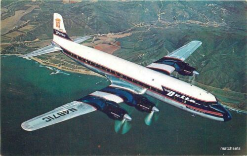 1950s Delta Airlines Delta Crown D7 in flight postcard 12326