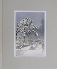 "Matted Print Kawase Hasui Japan Honmonji Temple in Snows 8 x 10"" Sealed Gray Mat"