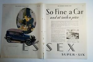 1928-blue-ESSEX-four-door-sedan-car-to-page-ad-as-is