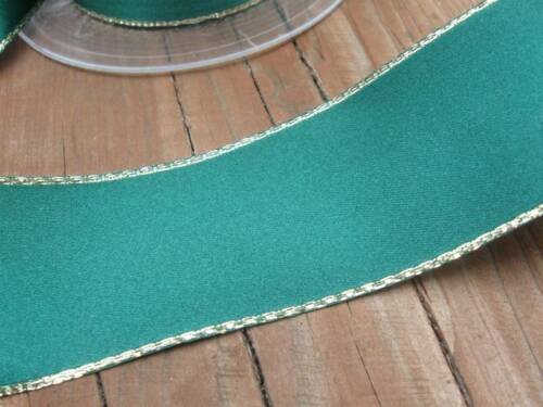2 metre 35mm Width Berisfords Forest Green Satin Ribbon with Gold Lurex Edge
