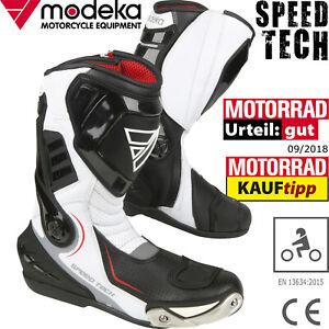 MODEKA-Motorradstiefel-SPEED-TECH-schwarz-weis-Sport-Verstarkungen-und-CE-Gr-44