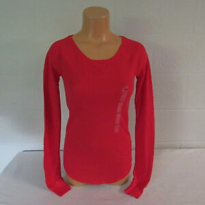 Victoria-039-s-Secret-PINK-Cotton-Poly-Waffle-Knit-LS-Sleep-Top-Shirt-Red-XS-NWT
