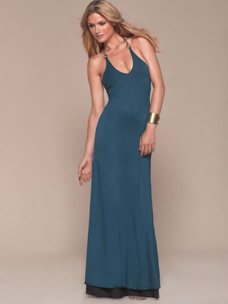 L Space damen Lolita Reversible Tassel Dress Teal schwarz XS New