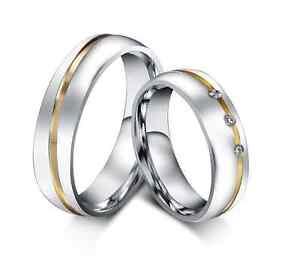 Coppia-Fedi-Fede-Fedine-Anello-Anelli-Fidanzamento-Nuziali-Oro-Acciaio-Zircone