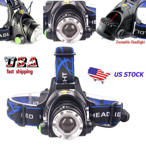 Ajustable 25000Lumens Zoomable T6 LED Headlamp Headlight  18650BTY/&Charger