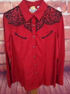 Panhandle-Slim-Womens-Shirt-Size-Large-Red-Black-Bling-Snap-Front-Western-EUC