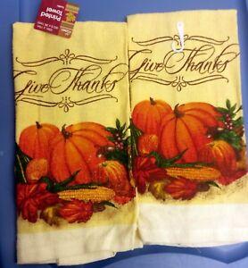 Set Of 2 Printed Kitchen Towels Pumpkin Harvest Give