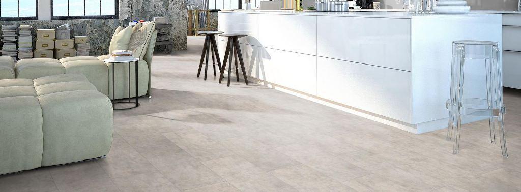 m² Laminat Classen Visiogrande Sichtestrich weiß + Leisten & Dämmung