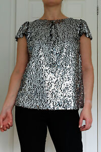 New-Ex-Billie-amp-Blossom-Black-Silver-Sequin-Evening-Party-Top
