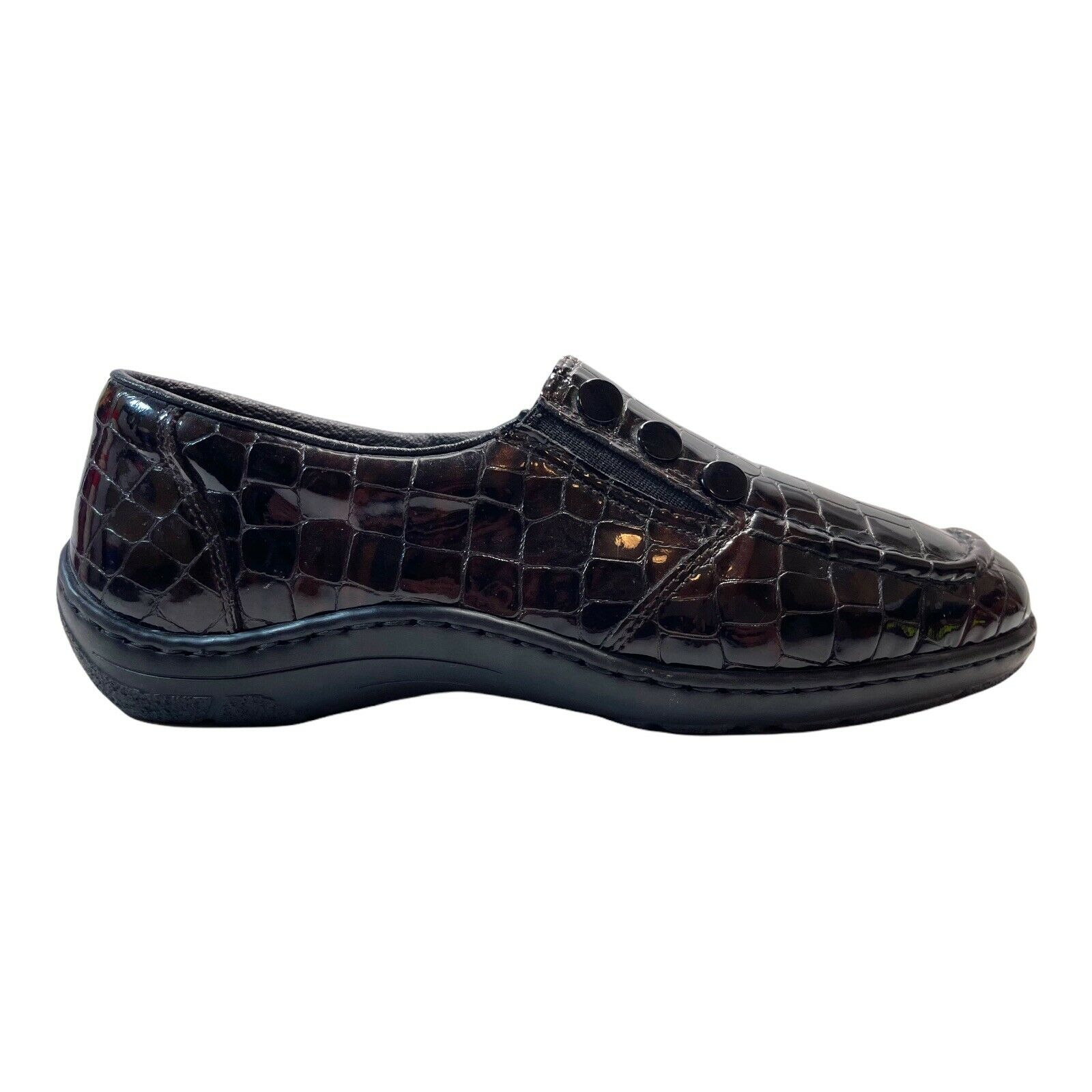 Rieker Womens Shoes Brown Croc Leather Antistress Comfort Loafers Size 6.5