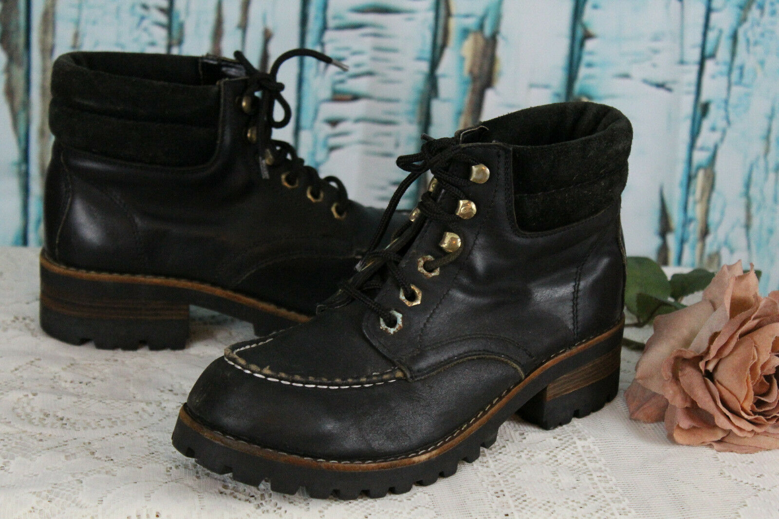 Buen escalador de de de Cuero Negro botas De Polo  8  tienda de bajo costo