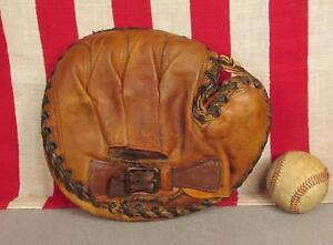 Vintage Olympic Leather Baseball Glove Catchers Mitt Ralston Rollie