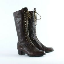True Vintage 90's Women's Brown Laced Leather Heeled Boots UK 6.5 EU 40 US 8.5