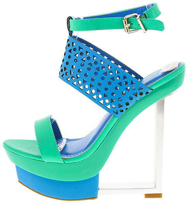 Faux Leather Colorful Cut Out Open Toe Platform Wedge High Heel Sandal Size W35