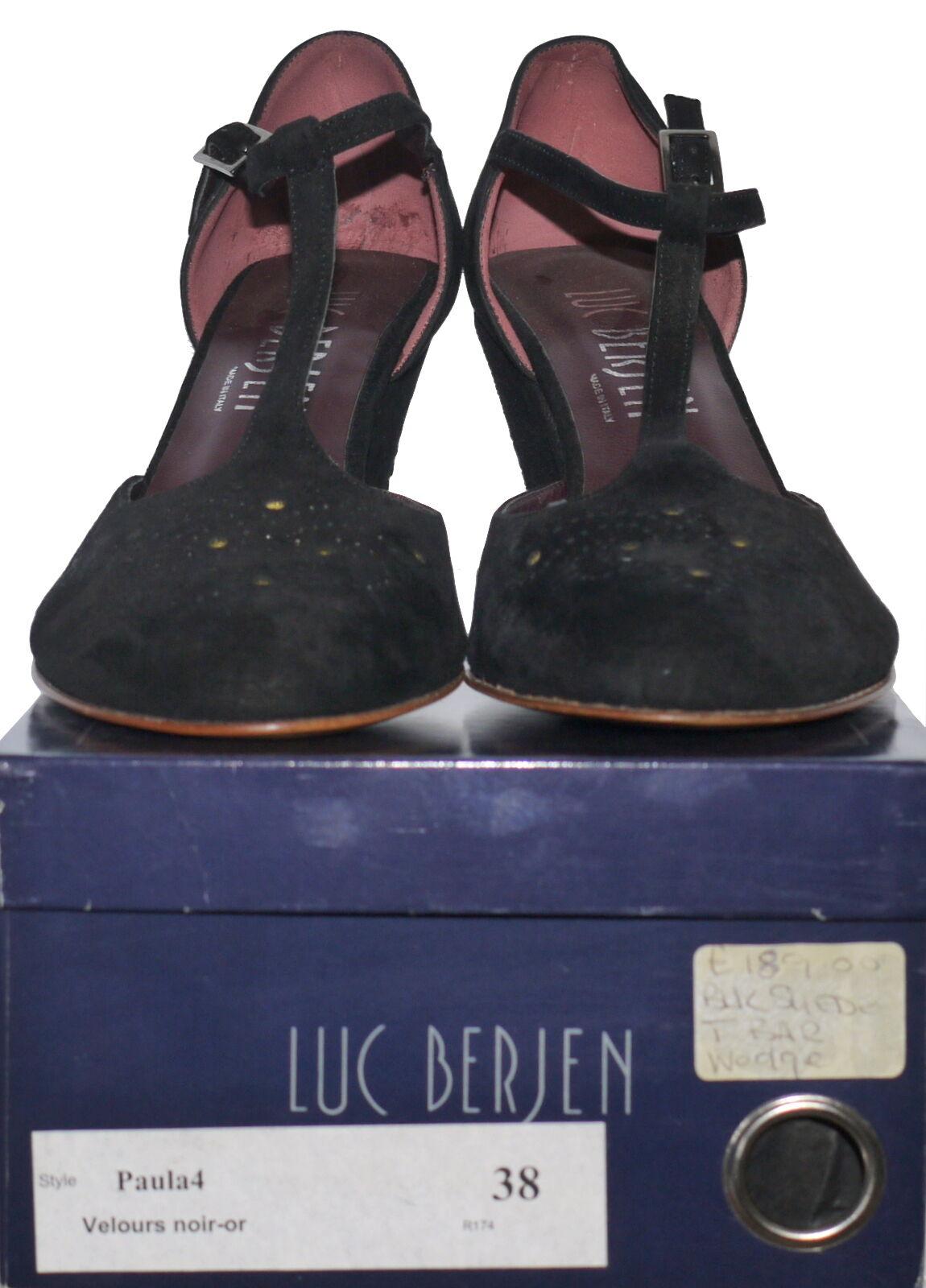 Luc Luc Luc Berjen Suede Wedged T-Bar Various Colour Sizes NIB SP cc856b