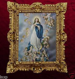 Selige-Jungfrau-Maria-die-Unbefleckte-Empfaengnis-Madonna-Bild-Gemaelde-45x38cm