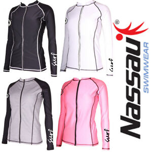 Nassau-Sports-Women-039-s-Long-Sleeve-Zipper-Front-Rash-Guard-Swim-Surf-Top